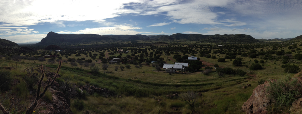 Pamoramic view of organic farm, Sweeney Farm in Alpine, TX.